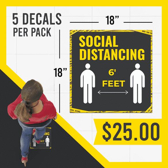 Coronavirus Social Distancing Floor Sticker (5 Decals per Pack)
